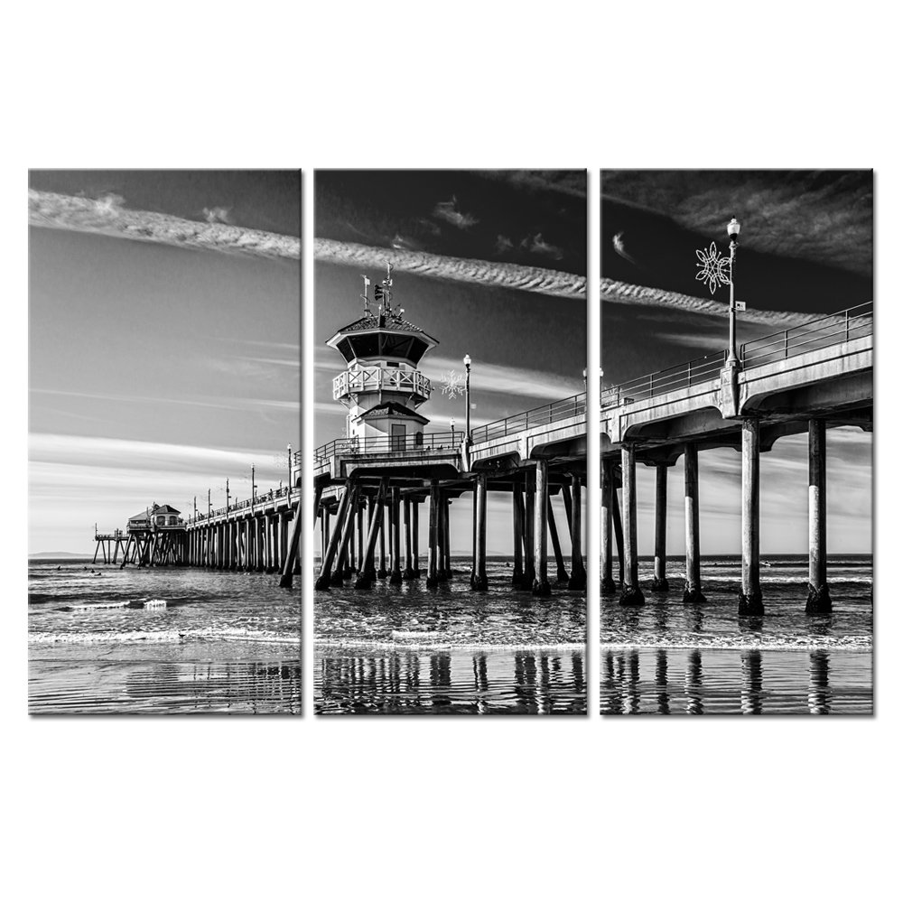 sechars - 3 Panel Wall Art California Huntington Beach Pier Picture Photo Canvas Print Black and Wihte Landscape Painting Modern Living Room Home Decor Stretched Ready to Hang