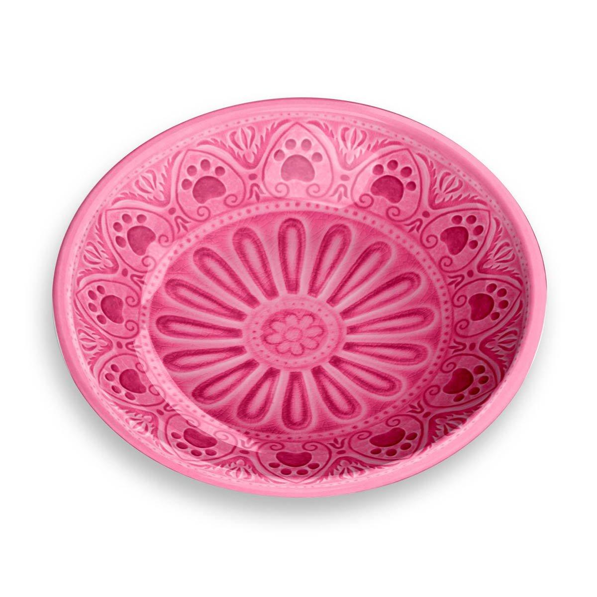 TarHong Medallion Paw Print Saucer, Pink