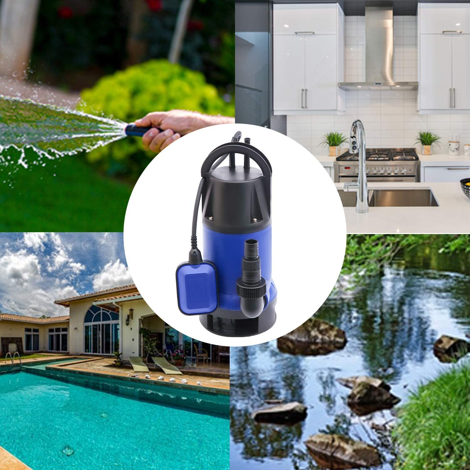 MEDAS 1HP Sump Pumps Portable Submersible Water Pump Electric Transfer Water Pump with 13700 L//H Max Flow for Pool Pond and Basement Draining in Clean//Dirty Water