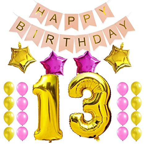 KUNGYO Sweet 13Th Birthday Party Decorations Kit-Pink Happy Brithday Banner,Number 13 Golden...