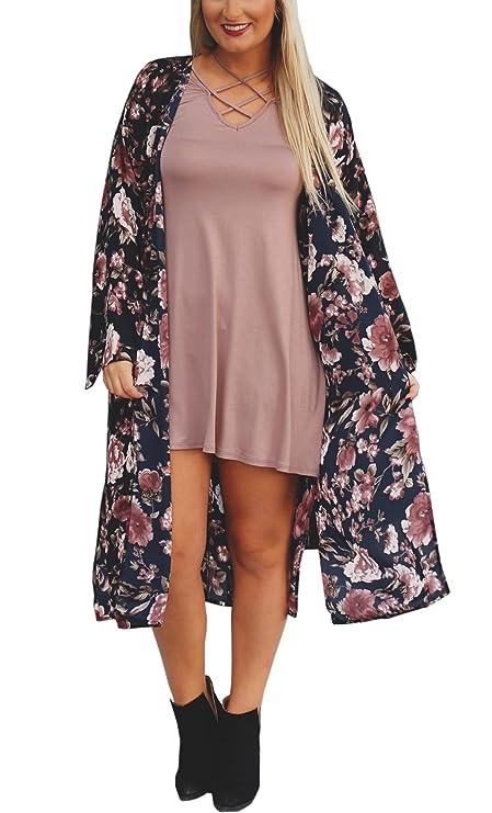 Hibluco Women's Sheer Chiffon Floral Kimono Cardigan Long Blouse Loose Tops Outwear (Small, K 12)