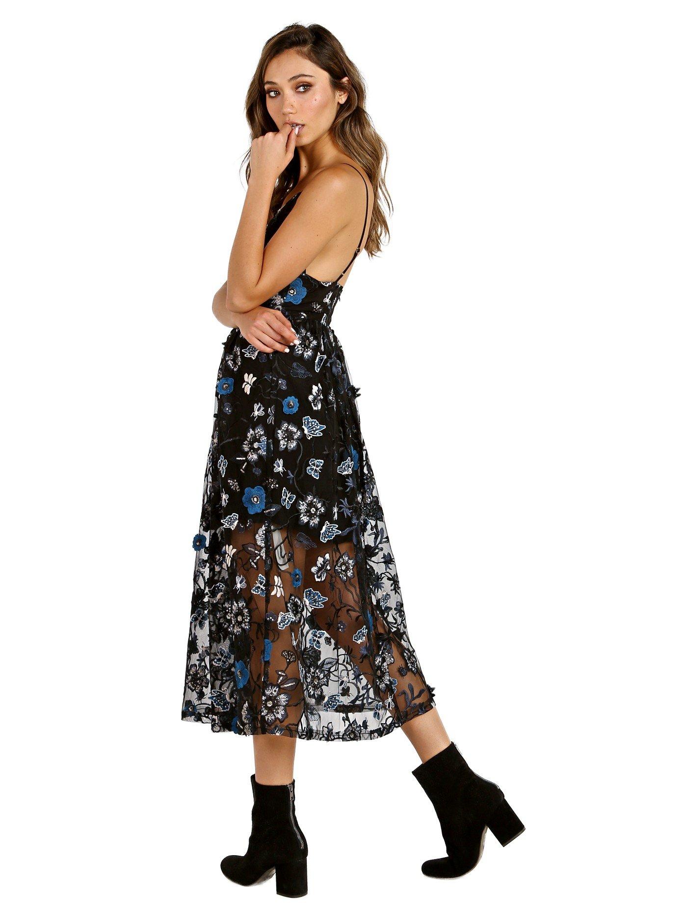 For Love & Lemons Botanic Midi Dress Black Floral