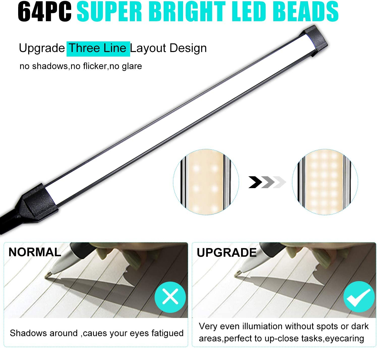 Upgrade Led Clip On Light, 33 Illuminations Kids Book Lights for Reading in Bed, Desk Lamps with USB Charging Port, Clamp Light Bedbesides Headborard, Stepless Dimmer/ Auto Memory/Off Delayer - -