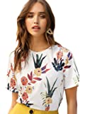 SheIn Women's Casual Round Neck Rose Floral Print Short Sleeve Summer Tee Tshirt