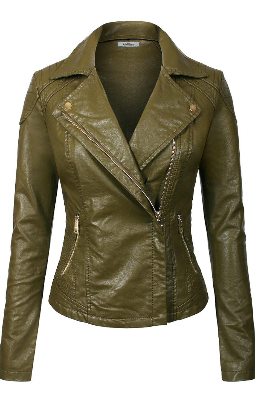 BodiLove Women's Slim Tailoring Faux Leather Zipper Moto Biker PU Bomber Jacket Olive S
