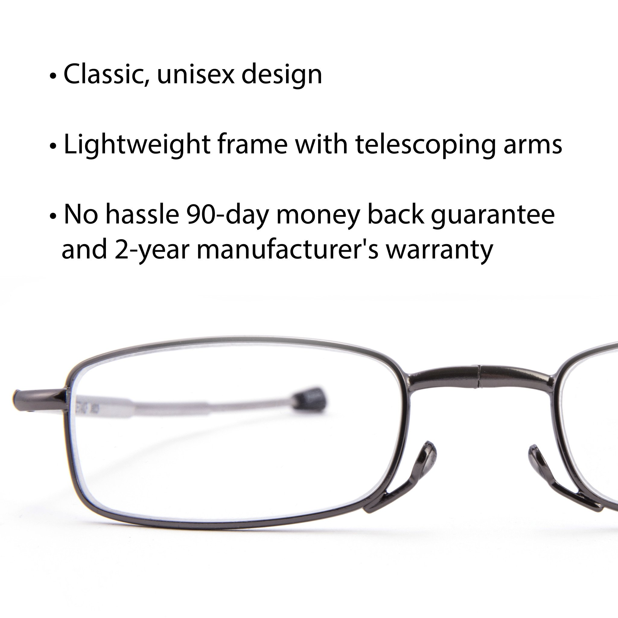 DOUBLETAKE 2 Pack Compact Folding Readers Reading Glasses w Case - 1.50x by DOUBLETAKE (Image #4)