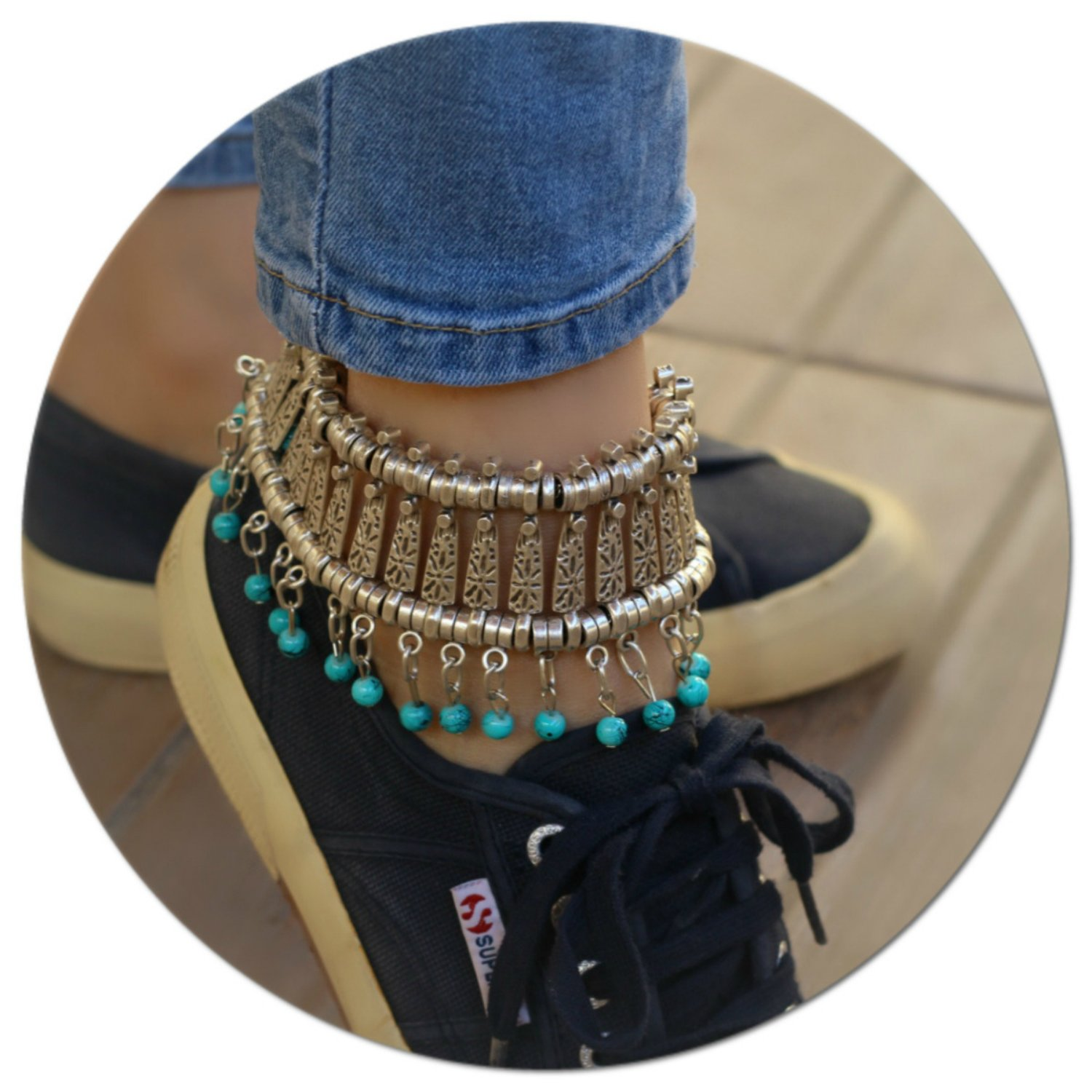 Silver Plated Boho Anklet Beach Summer Ankle Bracelet Foot Chain Jewelry Adjustable Barefoot Sandal with Turquoise Stone