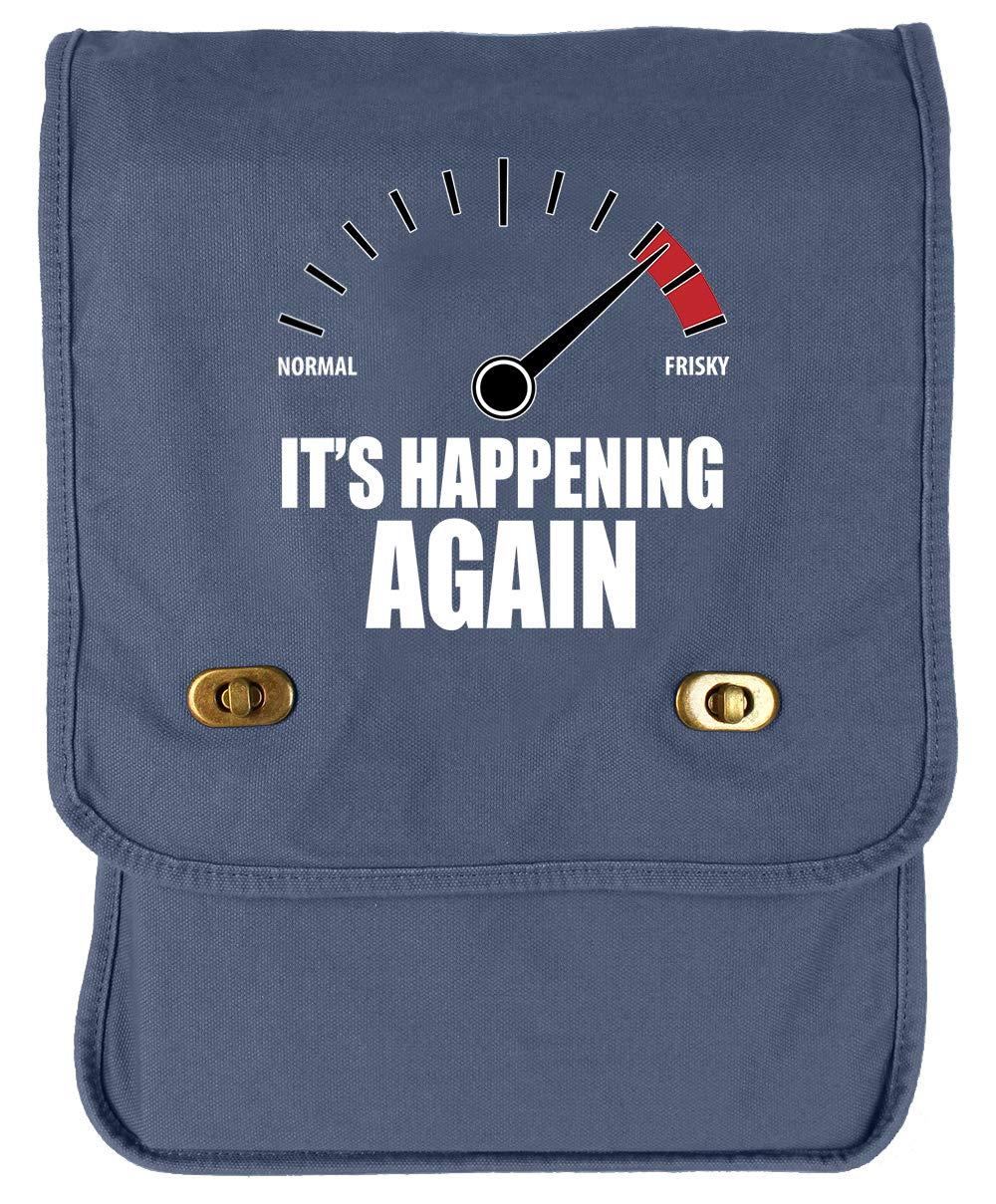 Its Happening Again Khaki Green Raw Edge Canvas Messenger Bag Tenacitee Frisky