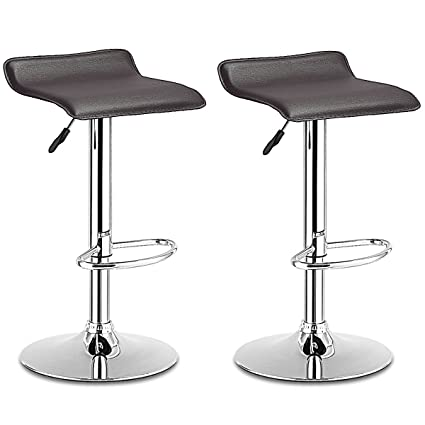 Costway Swivel Bar Stools Modern PU Leather Backless Adjustable Height  Dining Chairs W/ Chrome Base