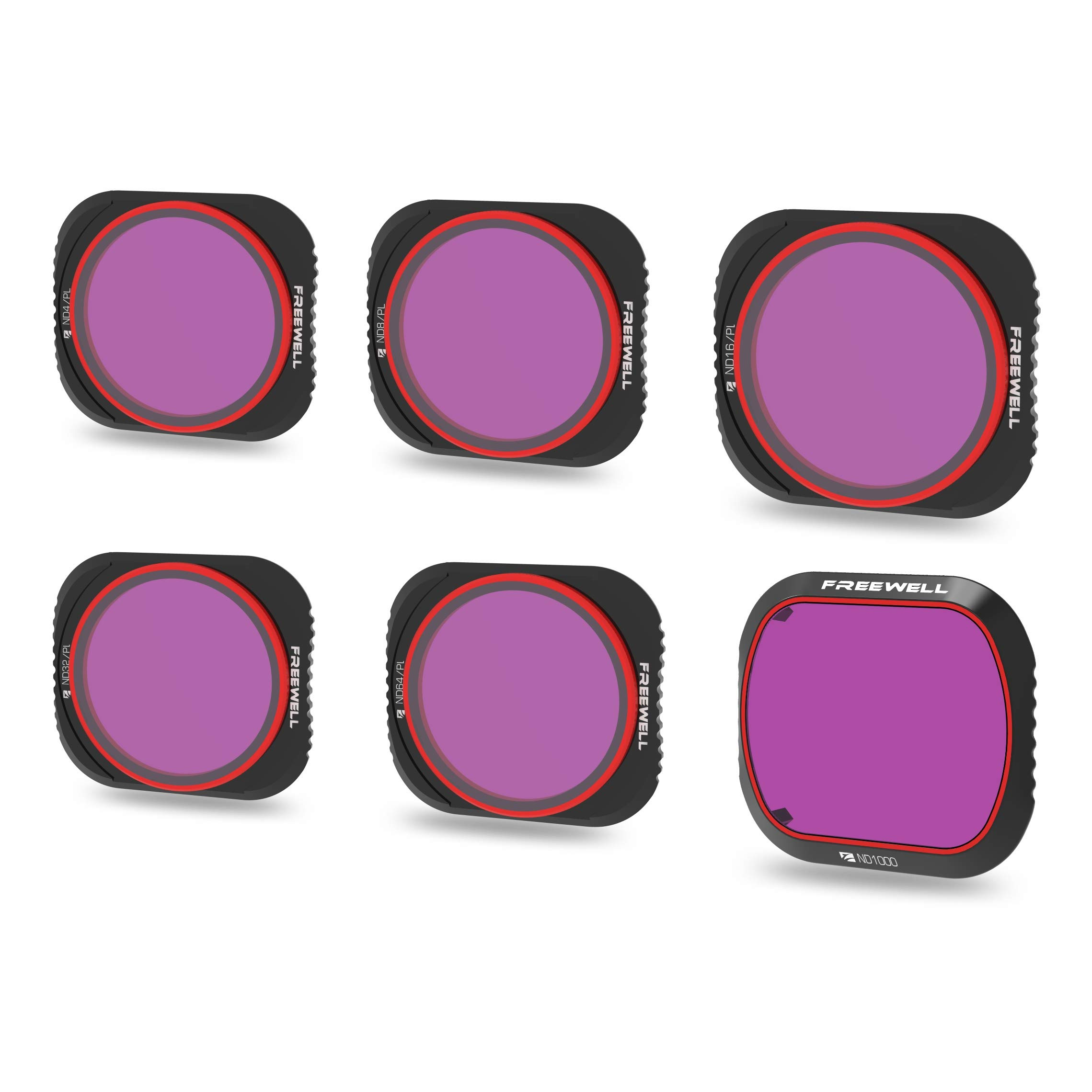 Freewell Limited Edition - 4K Series - 6Pack ND4/PL, ND8/PL, ND16/PL, ND32/PL, ND64/PL,ND1000 Camera Lens Filters Compatible with DJI Mavic 2 Pro Drone by Freewell
