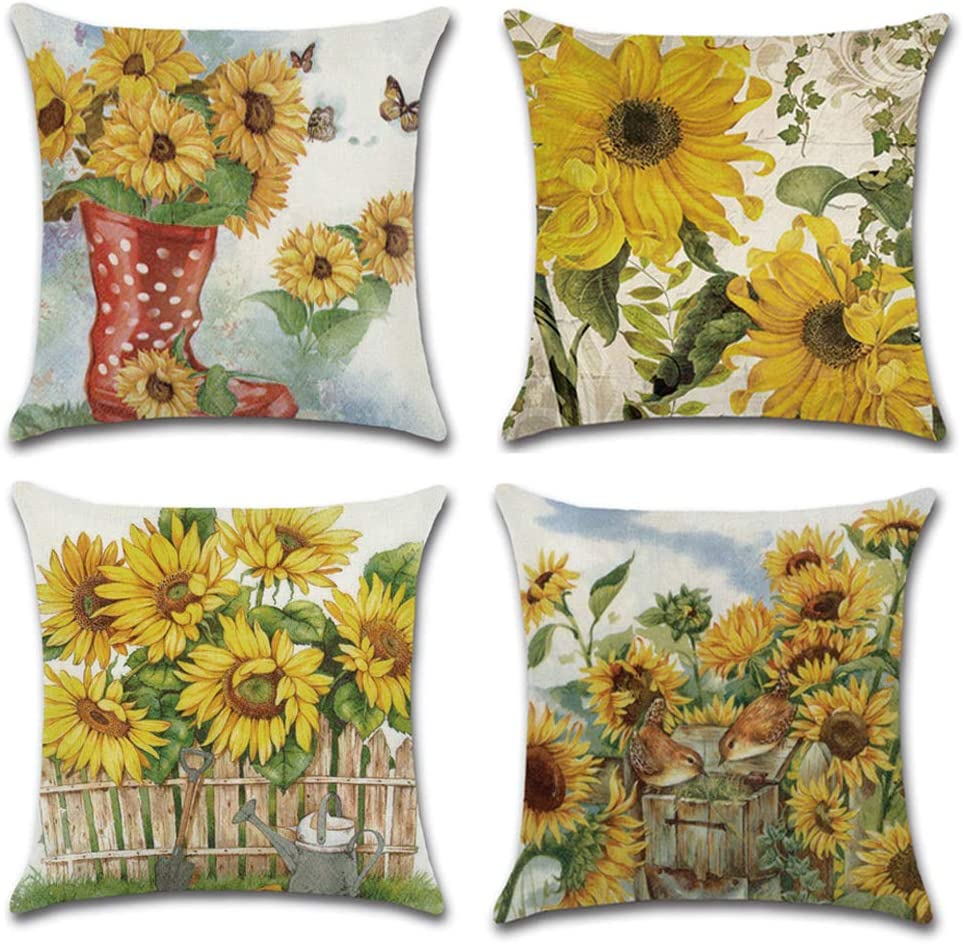 KAKABUQU Vintage Sunflower Throw Pillow Covers Set of 4 18x18 Inch, Linen Sunflower Farmhouse Country Decorative Sofa Cushion Covers Pillowcase for Home Bedroom Sofa Chair Decor