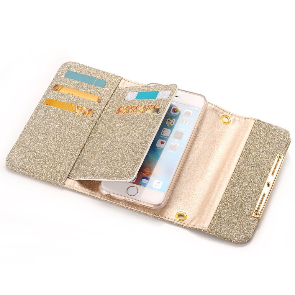 Apple iPhone X Case Wallet Cover,MeLiio Girls Cute Style Glitter Powder PU Leather Stand Flip Book Cover with Cards Slots Lady Multi Envelope Wallet Carrying Case Handbag for iPhone X 5.8 inch (Gold) by MeiLiio (Image #4)