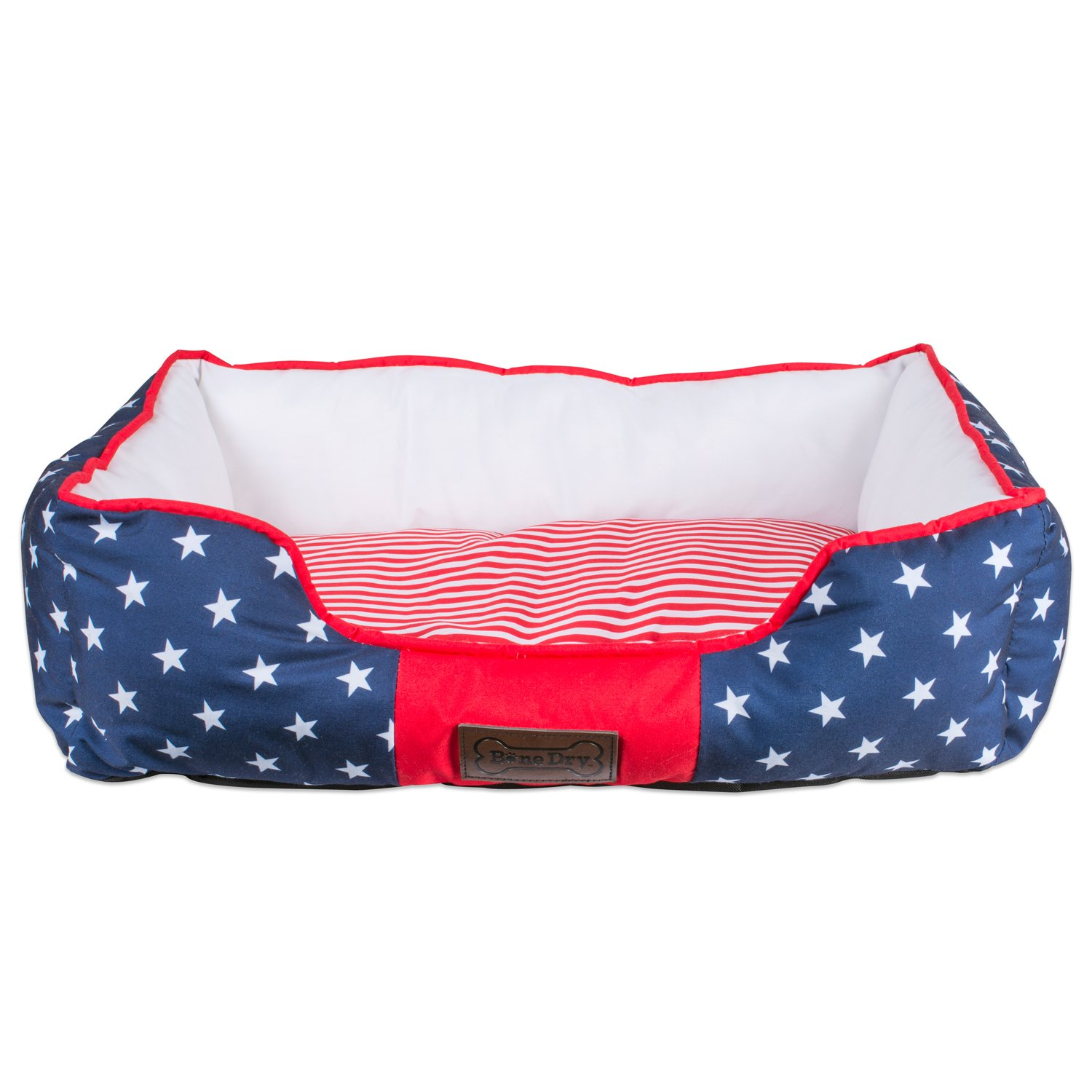 DII Bone Dry 4th of July Stars & Stripes Pet Bed, 28x20x8  Medium Rectangle Bed for Dogs Or Cats