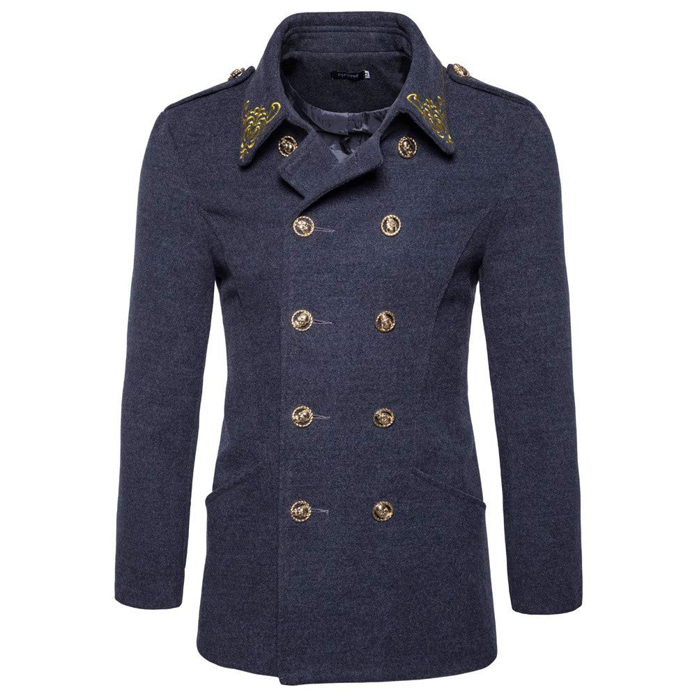 Mens Pea Coat Big and Tall.Fashion Mens Autumn Winter Casual Brode Double-Breasted Suit Outwear Top Coat