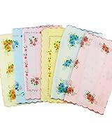 CANIS 12pcs/Set Lot Ladies Women Vintage Cotton Quadrate Hankies Floral Handkerchief