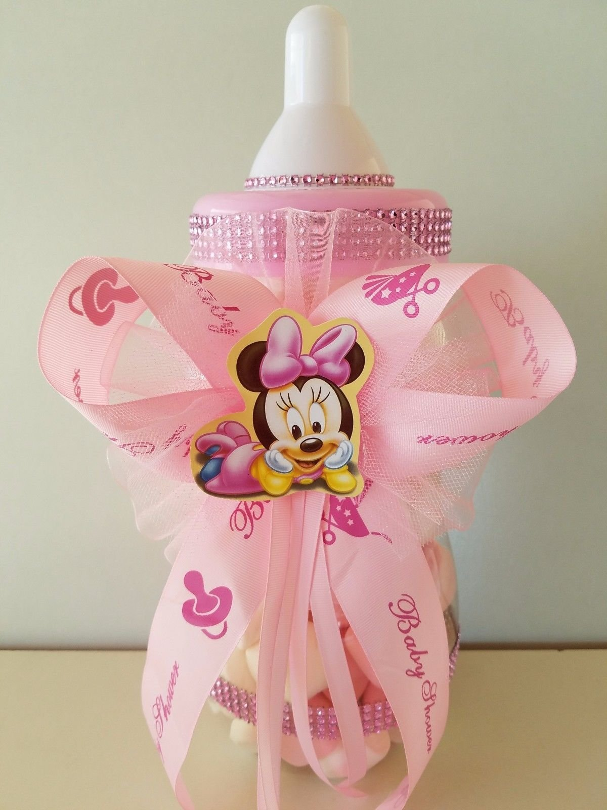 Minnie Mouse Centerpiece Bottle Large 14'' Baby Shower Piggy Bank Girl Decoration