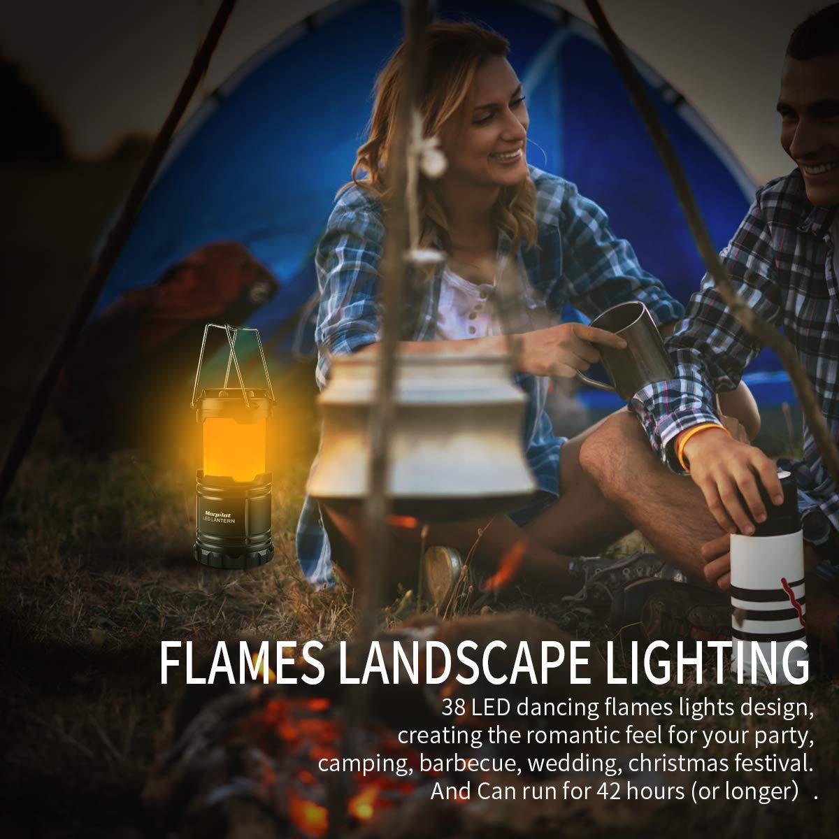 Farol de Camping, Morpilot 2 unidades Lámpara de Camping plegable Led con 2 modos iluminación Linterna Portátil exterior con Batería, Impermeable, anti-cáida para camping, aire libre