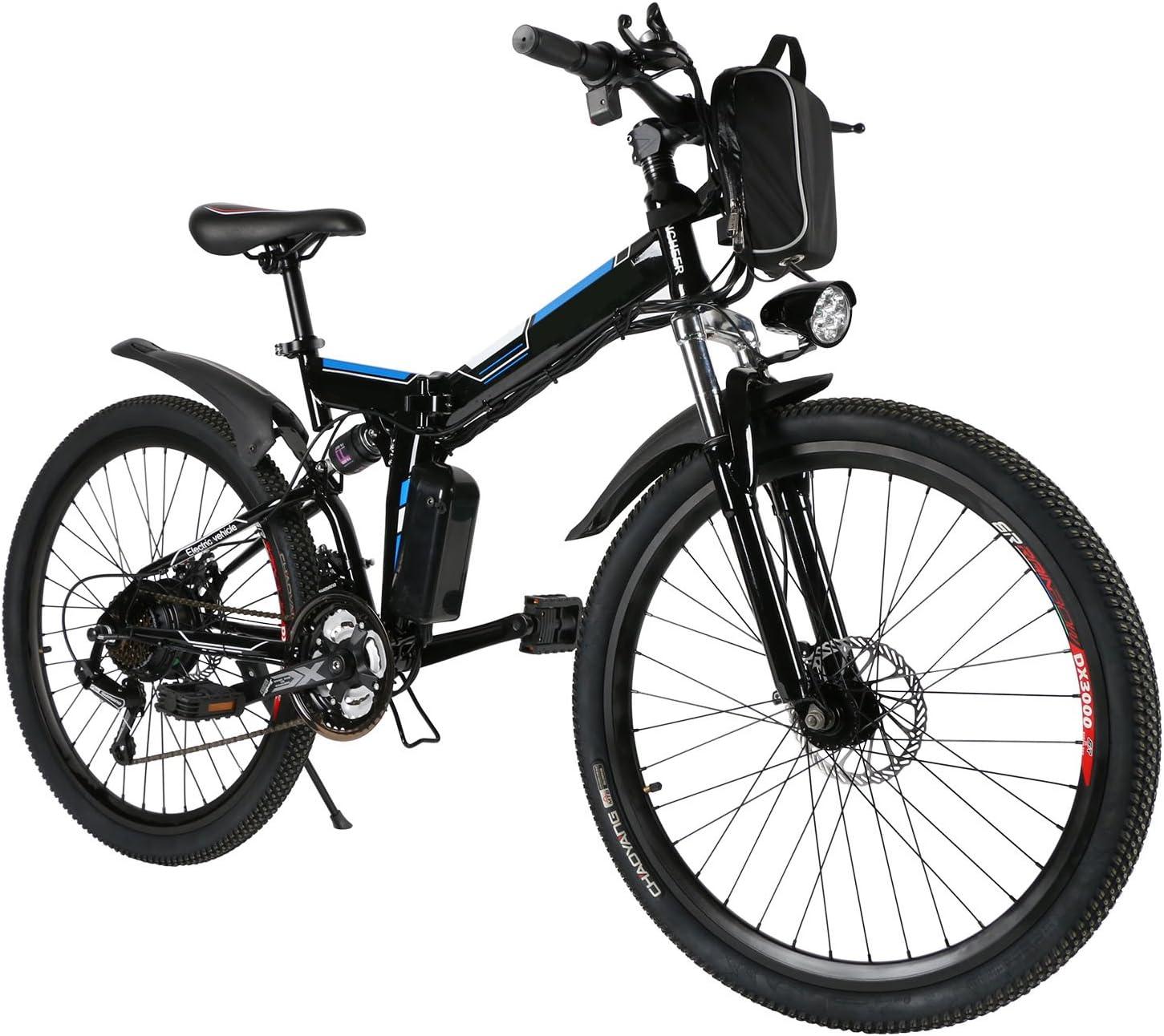 Ancheer Bicicleta Eléctrica de Montaña Bicicleta Eléctrica de 26 Pulgadas Plegable con Batería de Litio (36V 250W) 21 Velocidades de Suspensión Completa Premium y Equipo Shimano