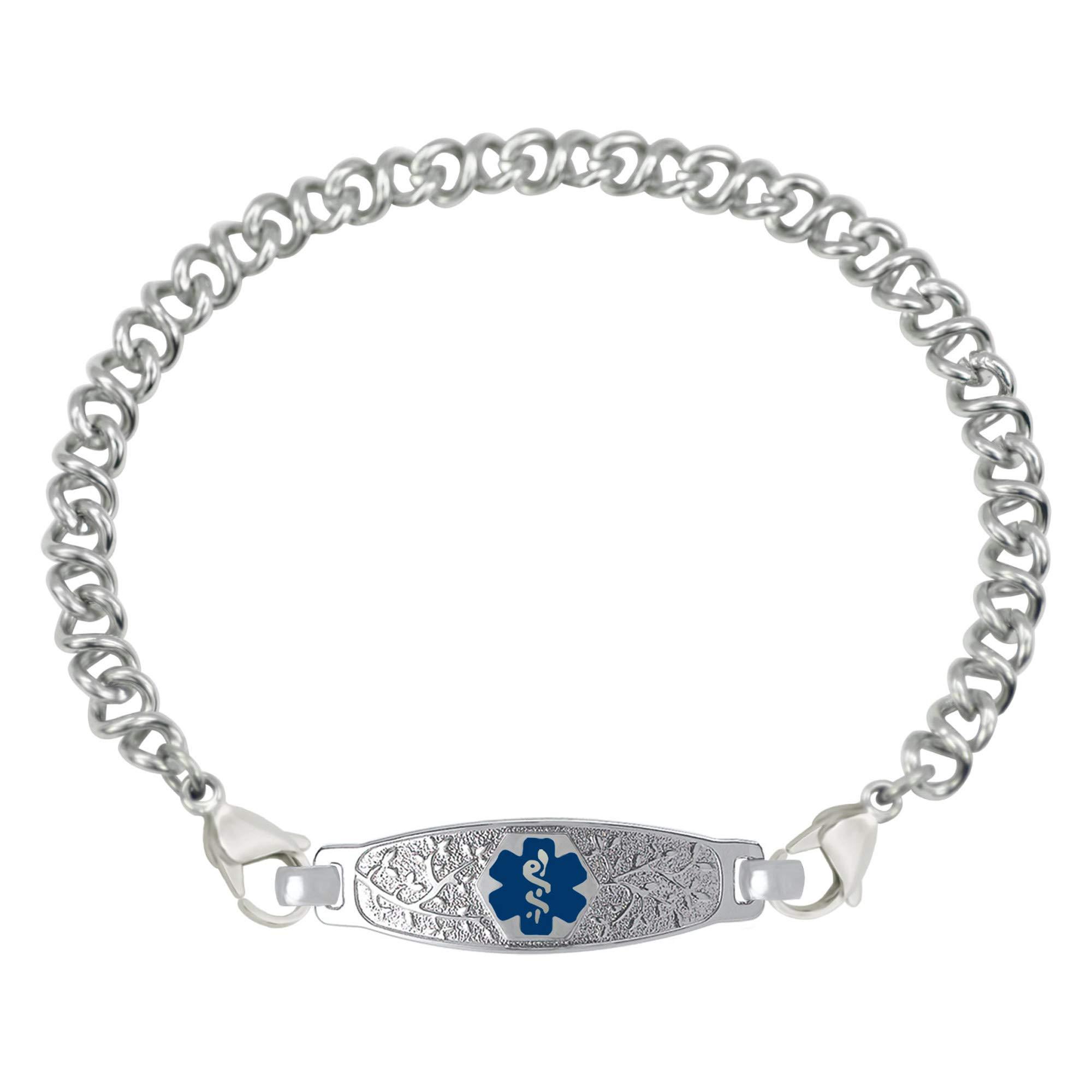 Divoti Custom Engraved Medical Alert Bracelets for Women, Stainless Steel Medical Bracelet, Medical ID Bracelet w/Free Engraving - Beautiful Olive Tag w/Knot Links-Deep Blue-6.5''