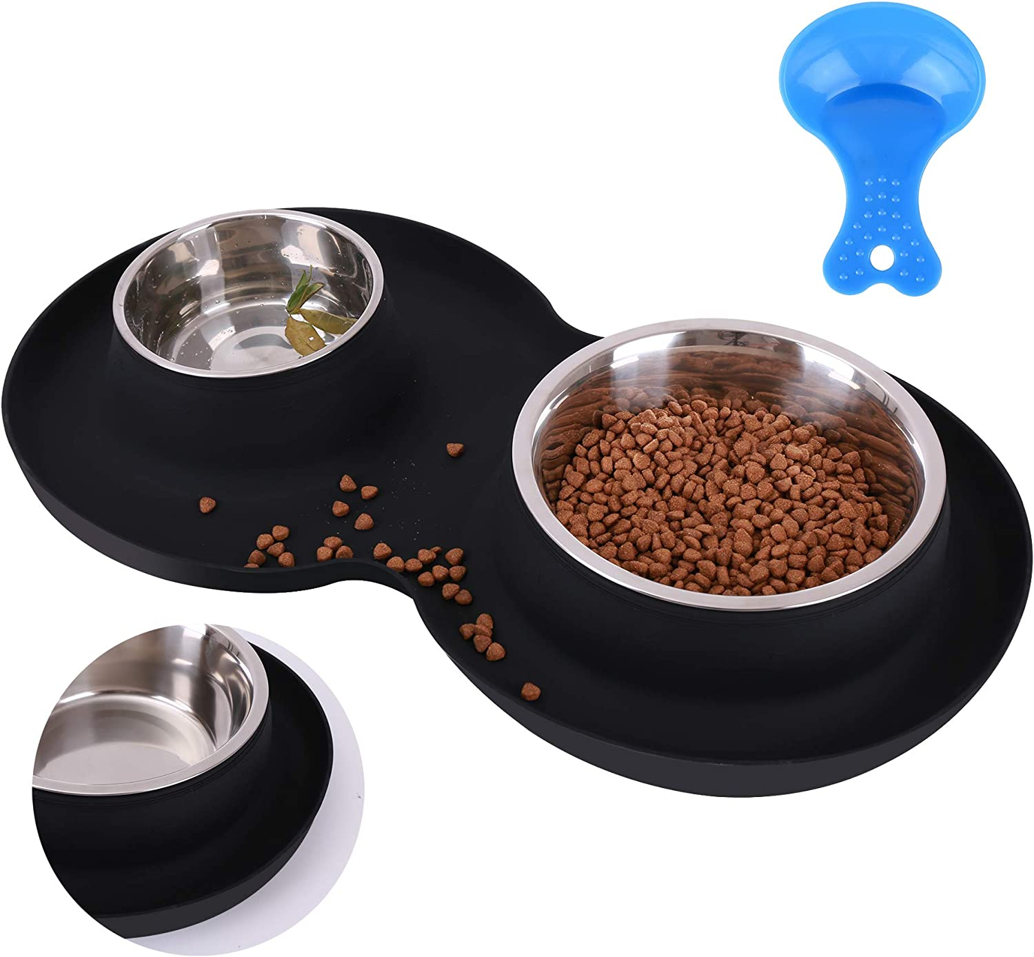 Yacee Pet Dog Bowls2 Stainless Steel XXL Dog Bowl(53oz+27oz) with 1.2 inch No Spill Non-Skid Silicone Mat + Pet Food Scoop Water and Food Feeder Bowls for Feeding Small Large Dogs Cats Puppies