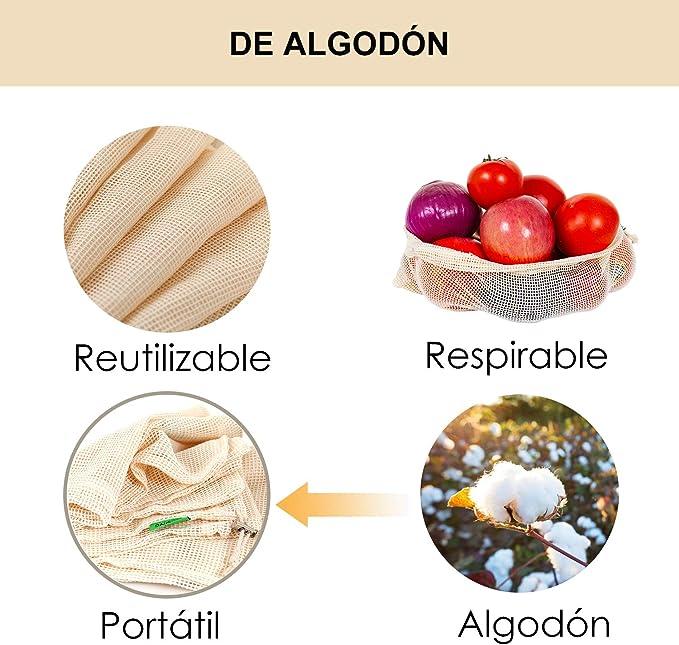 YIHONG Lot de 10 sacs r/éutilisables /à Fruits et L/égumes,Sacs de coton lavables /écologiques pour fruits et l/égumes rangement pour /épicerie 3*S, 4*M, 3*L