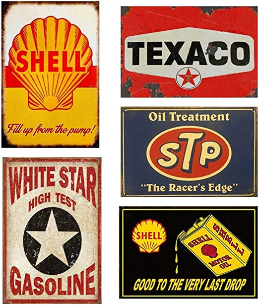 Wall Decor for Home Garage Bar Man Cave Tin Sign 8x12 Shell Motor Oil Gasoline