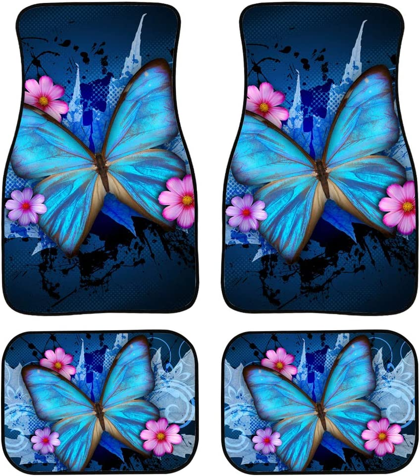 Small SUV Driver Seat Passenger Seat and Rear Floor Mats for Car Heavy Duty Set of 4 Showudesigns Butterfly Print Car Interior Rug Carpet Floor Mats for Cars Coupes