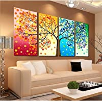 AYHBV Mural Wall ArtCanvas Painting Colourful Leaf Trees Abstract Picture Wall Art Poster Spray For Living Room Home Decoration Painting
