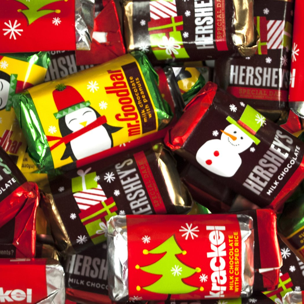 Bulk Christmas Candy 5lb - Hershey's Miniatures Holiday Chocolate Assortment - Milk Chocolate, Mr. Goodbars,Special Dark, and Krackel - Approx 270pcs by WH Candy