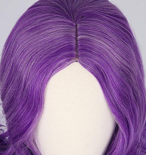Topcosplay Larga Ondulada Peluca para Niñas Adolescentes Púrpura Peluca Cosplay Spectra Vondergeist Peluca Mal Peluca