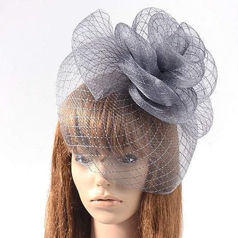Ladies Women Sinamay Feather Wedding Race Headband Clip Flower Hat Fascinator UK