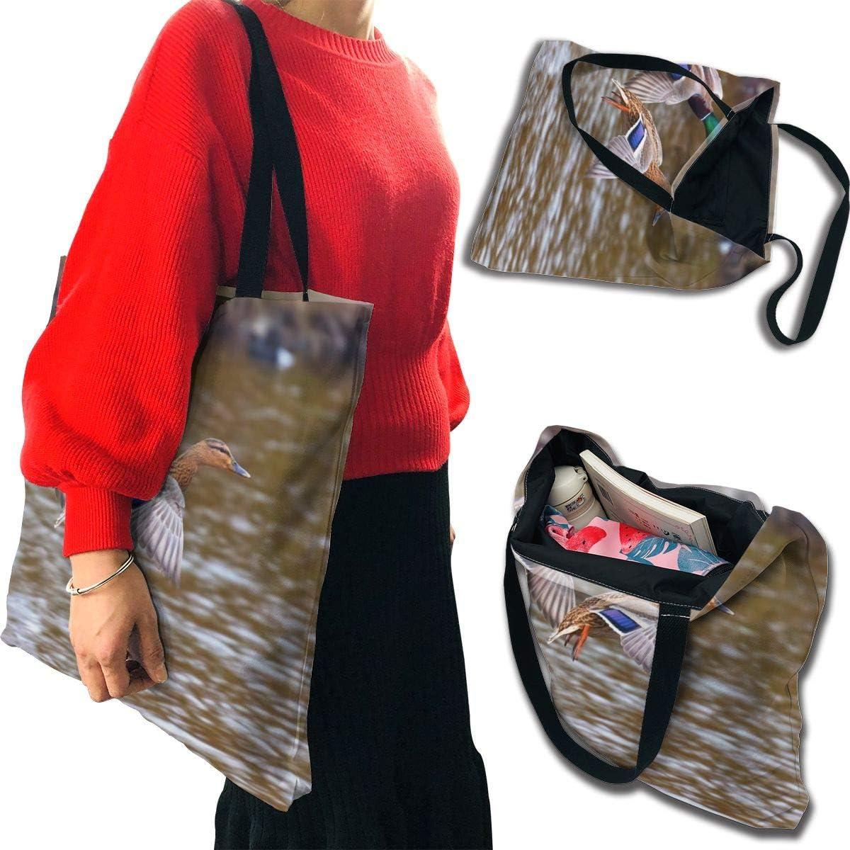 PengMin Duck Bird Landing Fashion Womens Multi-Pocket Vintage Canvas Handbags Miniature Shoulder Bags Totes Purses Shopping Bags