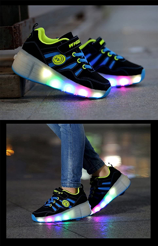 FG21ds21g LED Flashing Lights Roller Skate Sneakers Shoes Single Wheels Outdoor Sneaker for Boy Girl Kids Blue 29 M EU//12 M US Little Kid