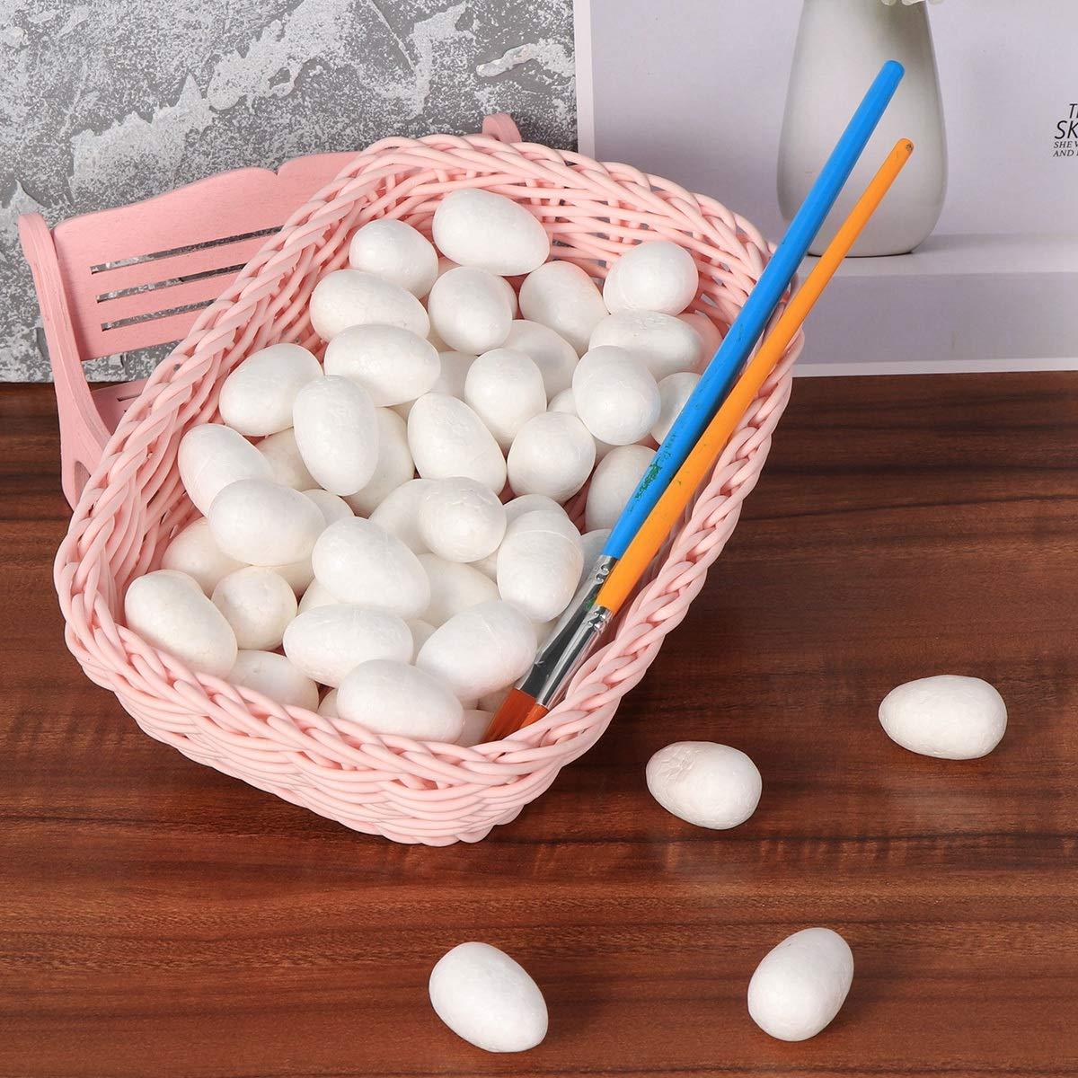 bianco, 3-4 cm Amosfun 100pcs uova di schiuma bianca pittura Easter Egg Craftfor per bambini piccoli