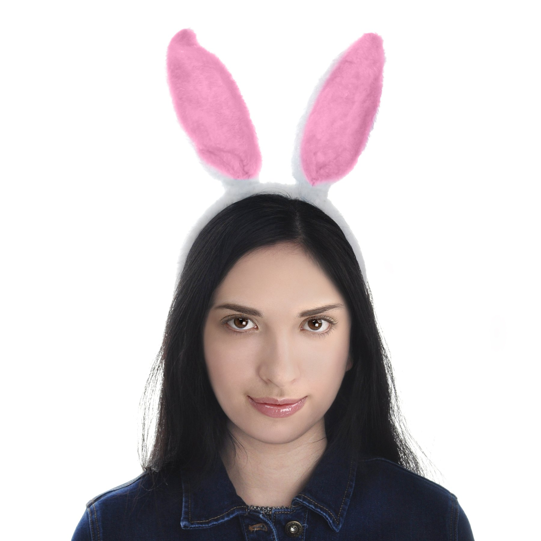 Toptie Easter Bunny Ears Headband, Soft Touch Plush Cosplay Party Suppliers-White-1pc by TOPTIE (Image #6)