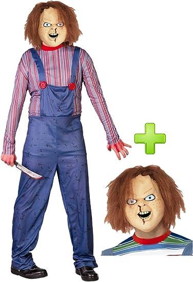 Disfraz de Muñeco con mascara de Chucky: Amazon.es: Ropa y accesorios
