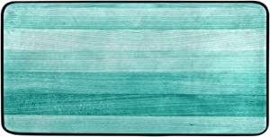 "Kitchen Rugs Teal Turquoise Green Wood Design Non-Slip Soft Kitchen Mats Bath Rug Runner Doormats Carpet for Home Decor, 39"" X 20"""