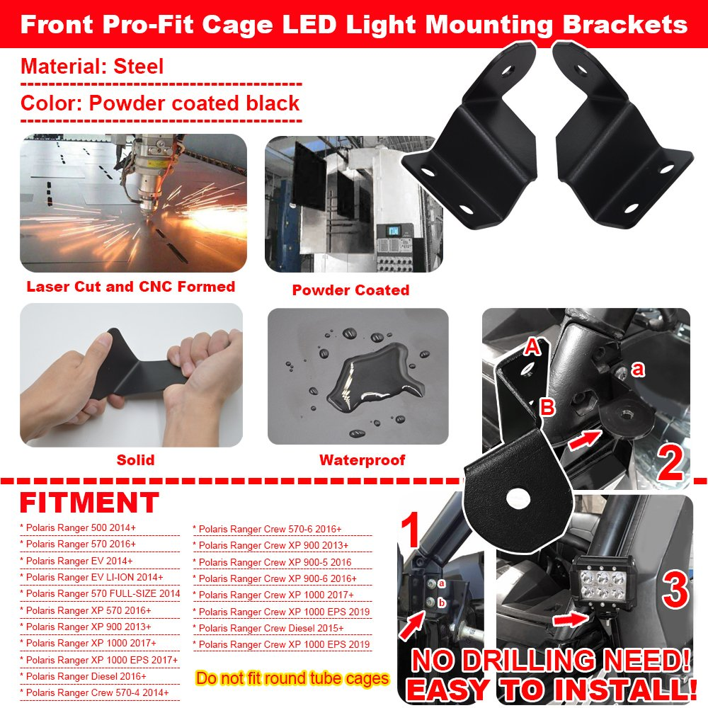 No Drilling Need Front Pro-Fit Cage LED Light Mounting Brackets Fits Polaris Ranger 500 570 900 1000 EV XJMOTO