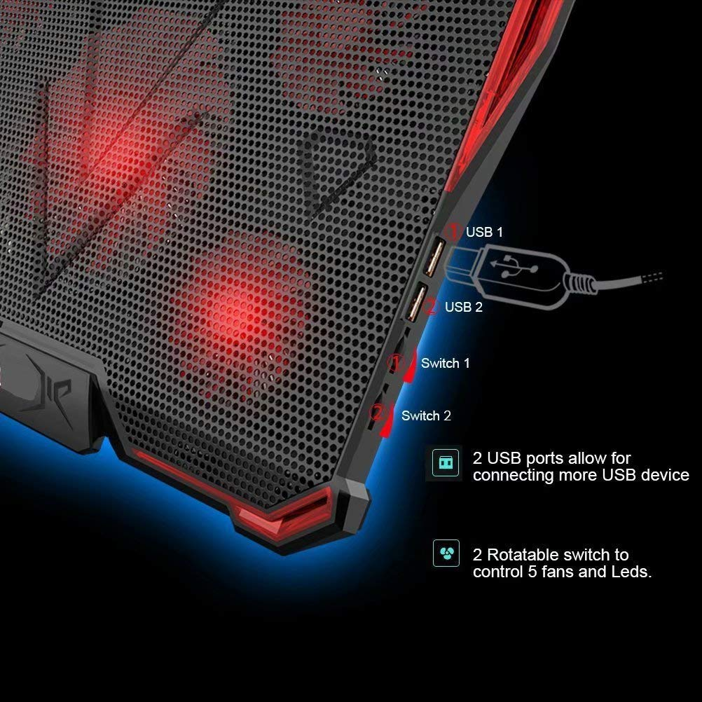 Mobility Laptop Cooling Pad - Best Adjustable Cooler Mat For 15 1/2''-17'' Laptop Computers, Notebooks & MacBooks - Portable Ultra-Slim Cooling Tray Uses Four Fans - For Gaming, Work, School - Red by Mobility (Image #3)