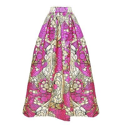 *flower* Women's African Floral Print Slit Front Maxi Skirt