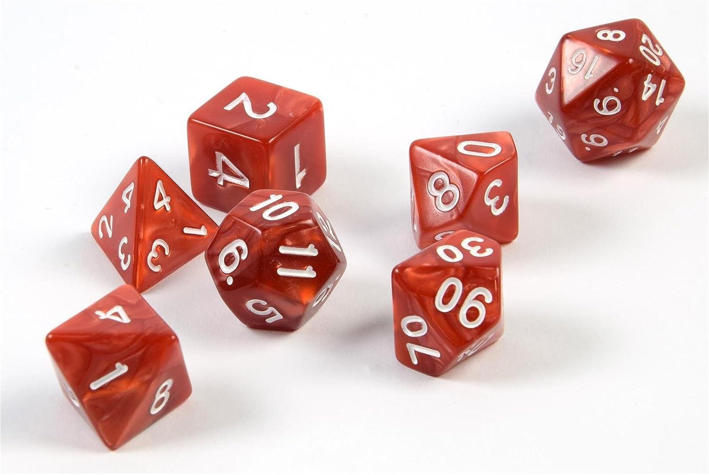shibby 7 Dados poliédricos en Rojo para Juegos de rol y Mesa ...