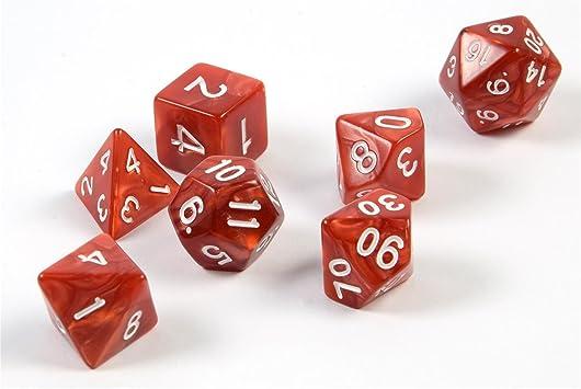 shibby 7 Dados poliédricos en Rojo para Juegos de rol y Mesa, Incluye Bolsa: Amazon.es: Juguetes y juegos
