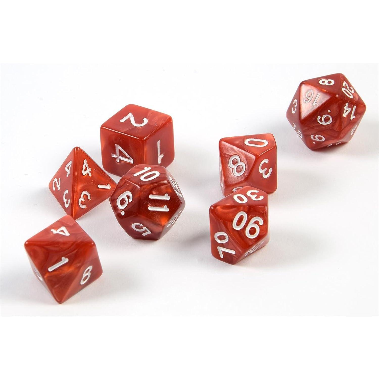 7 dés polyédriques pour les jeux de rôle et les jeux de table en rouge avec sac PhoneNatic
