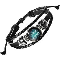 Zivom® 12 Constellation Zodiac Braided Leather Ring Wrist Band Strand Bracelet Birthday Gift Men Women