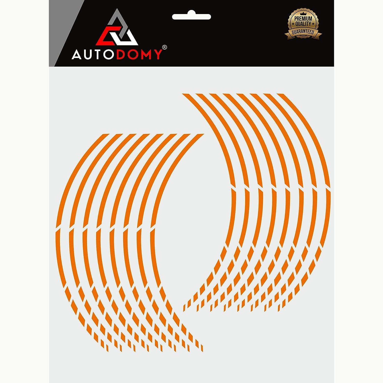 Autodomy Autocollants Stickers Kit Bandes Jantes Moto Ensemble Complet pour 2 Roues Jantes de 15 /à 19 Pouces Sport Design Vert