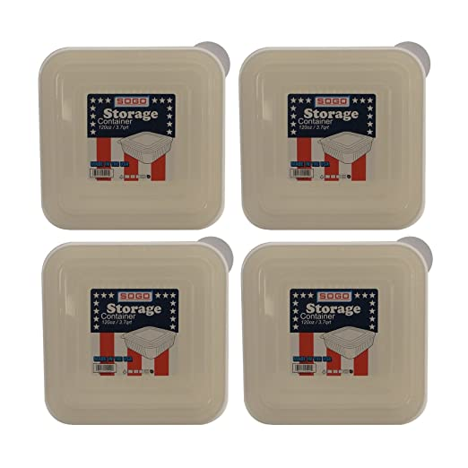 Set de 4 Sogo 120oz/3.7qt cuadrado sin BPA Contenedores de ...