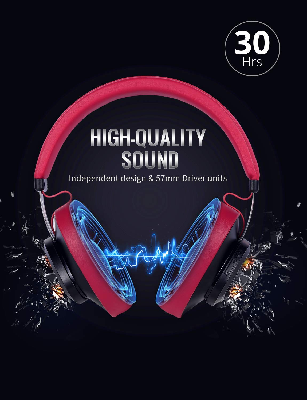 Bluedio TM Auriculares Bluetooth 5.0 inalámbricos portátiles On-Ear, Controla de Voz, con micrófono para teléfonos y música (Rojo): Amazon.es: Electrónica