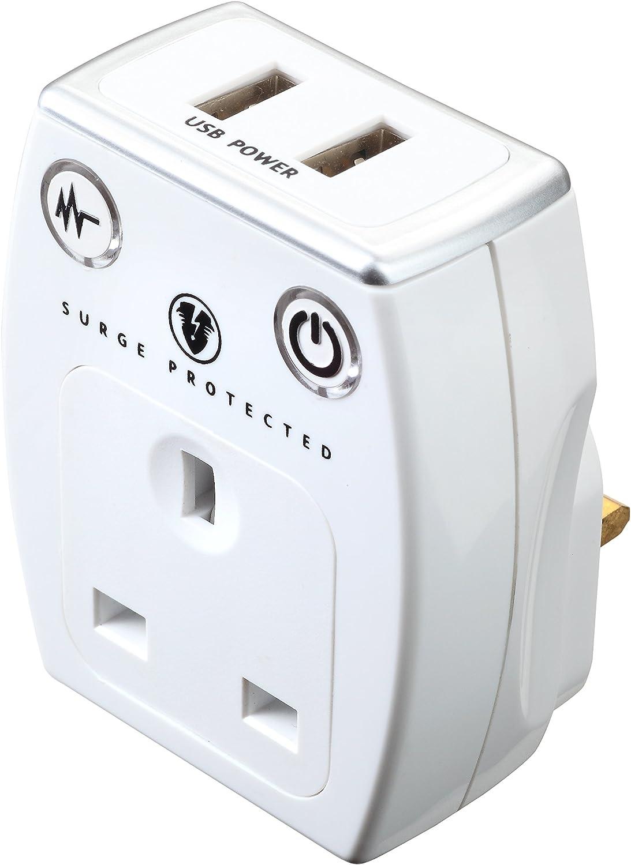 Masterplug Prise par Surge Protected Socket 2 USB 2.1 A Chargeur Ports Travel