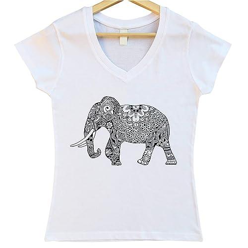 Camiseta Mujer Blanca Elefante Negro Cuello V: Amazon.es: Handmade