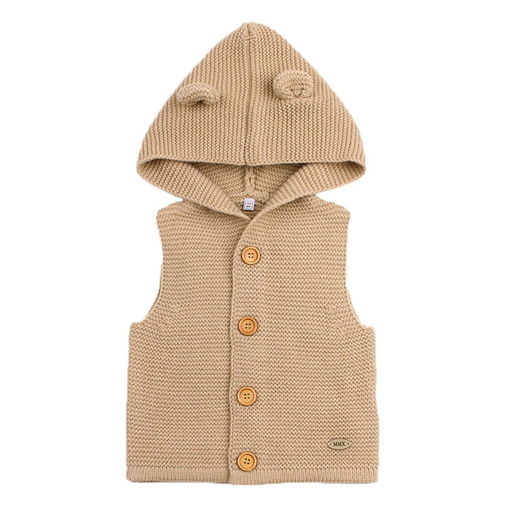 MMX Baby Infant Hooded Sweater Sleeveless Cardigan Button Up Jacket MiMiXiong 82W281